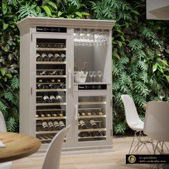 Wooden Wine Refrigerator, 154-208 bottles, racks for wine glasses