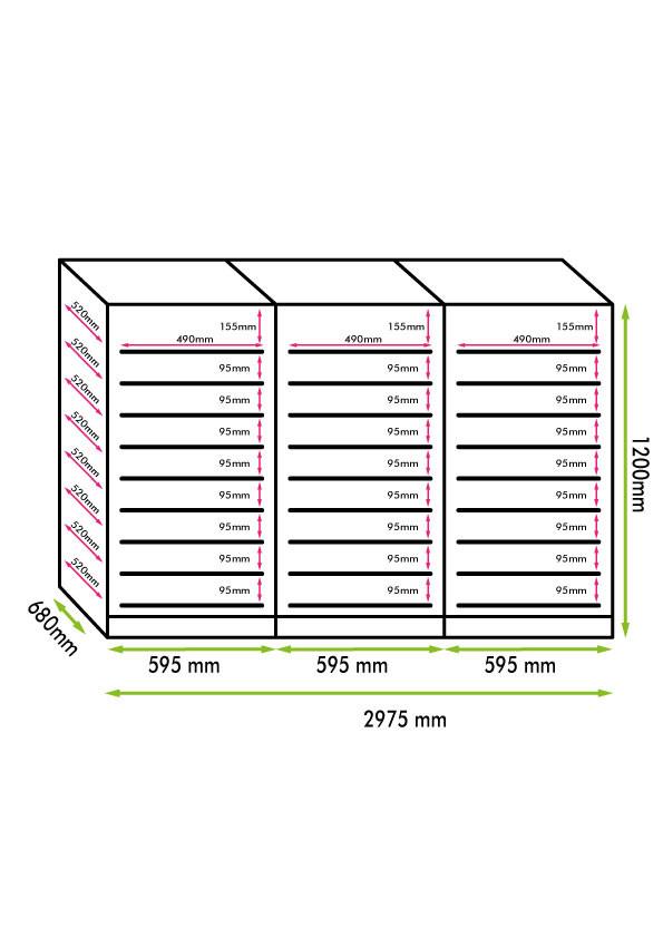 Armadio cantina linea Luxury 288 bottiglie 3 zone temp. Altamente Professionale (mis. 870x1785x575, kg.210)