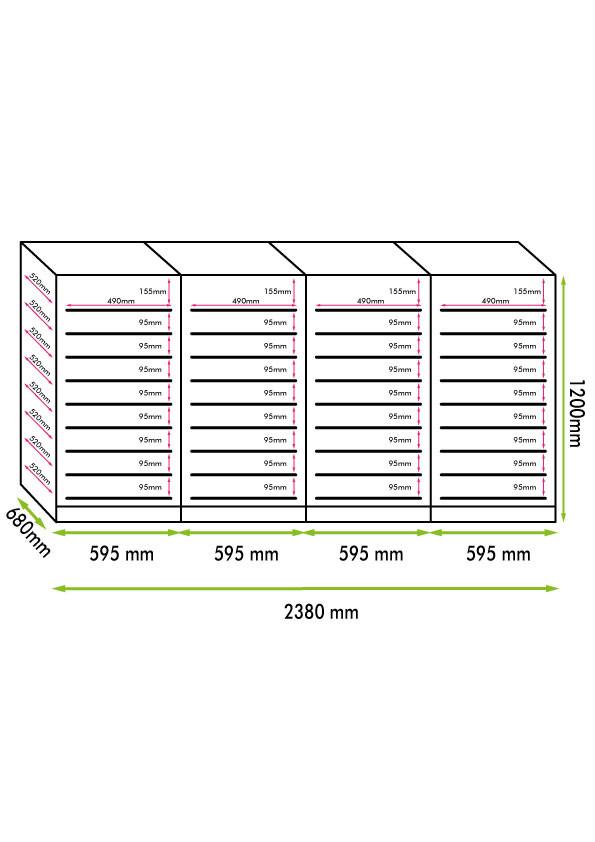 Armadio cantina linea Luxury 384 bottiglie 4 zone temp. Altamente Professionale (mis. 870x2380x575, kg.280)