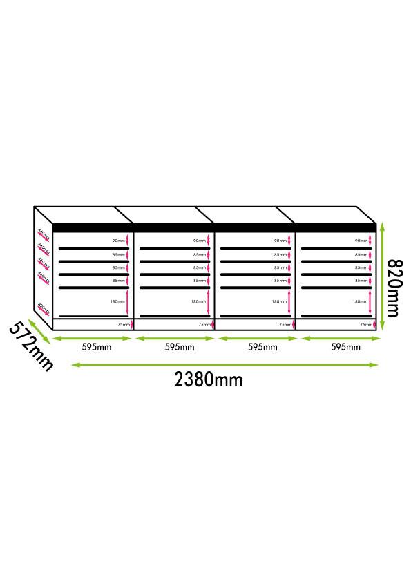 Armadio cantina 4 zone temperatura 204 bottiglie Classe A compressore (mis. 820x2380x572 kg.212)