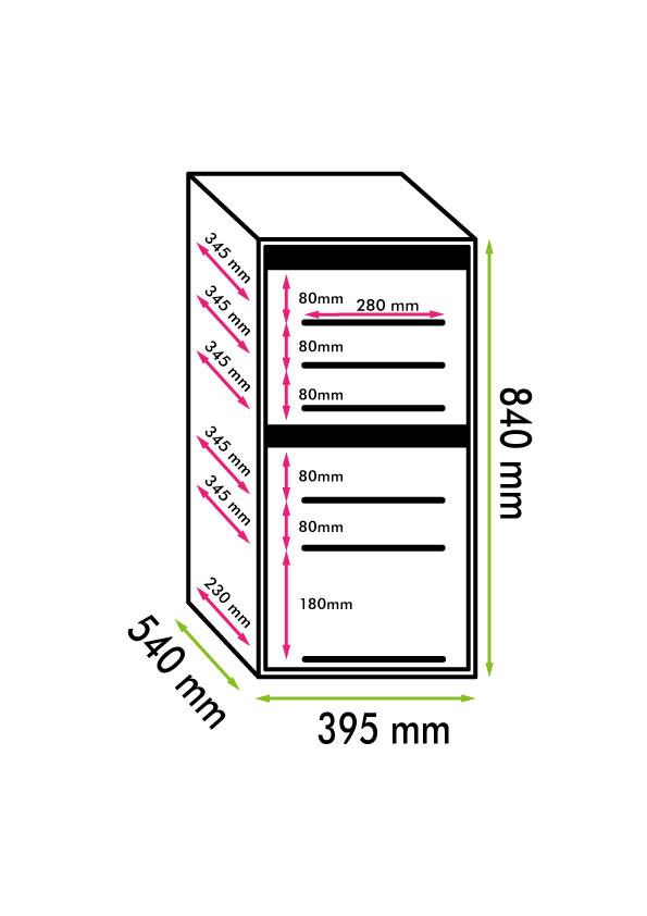 Cantinetta vino 24 bottiglie doppia temperatura, compressore, Classe A (M: 840x395x540, kg.40)