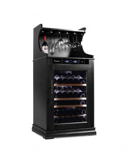 Wooden Wine Cooler 46-62 bottles, single zone, with storage racks for hanging wine glasses